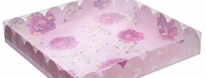Коробка подарочная пионы 35 × 35 × 6 см