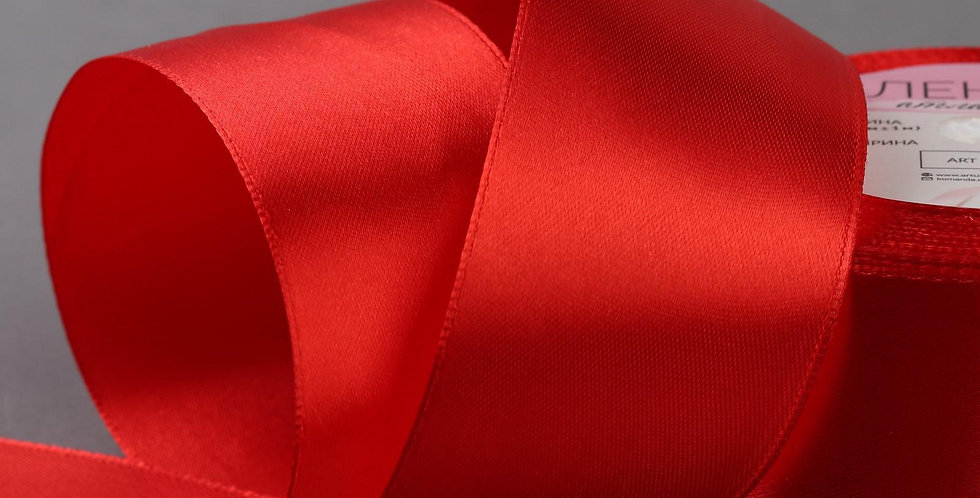 Лента атласная  большая №26 50мм*25±1ярд красный