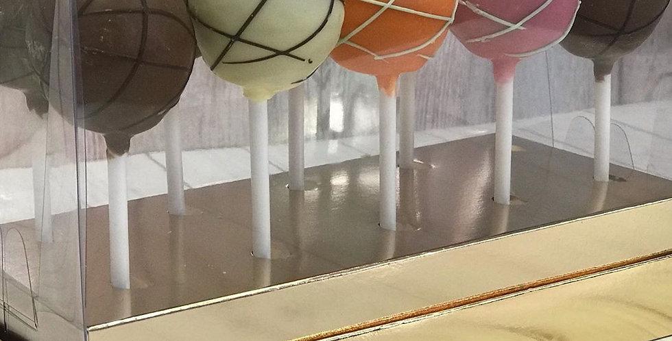 Коробка под кейк-попсы с пластиковой крышкой  (золото)