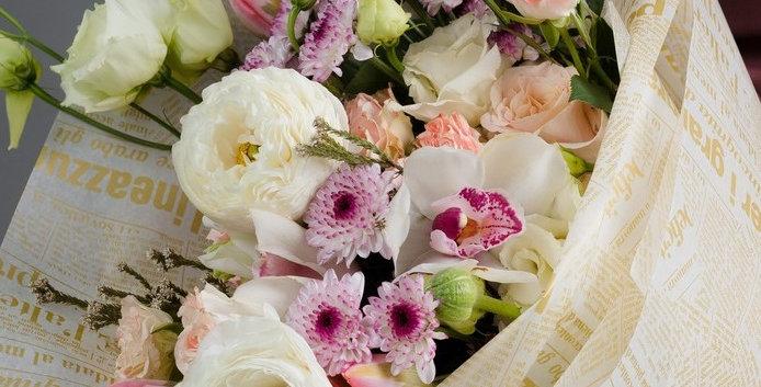 """Калька для цветов """"Газета"""", цвет золото на белом, 0,53 х 18 м"""