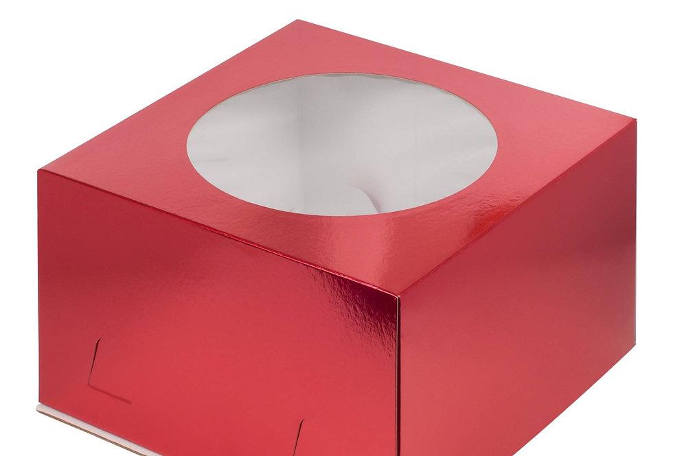 Коробка для торта с окошком 300*300*190 мм (красная)