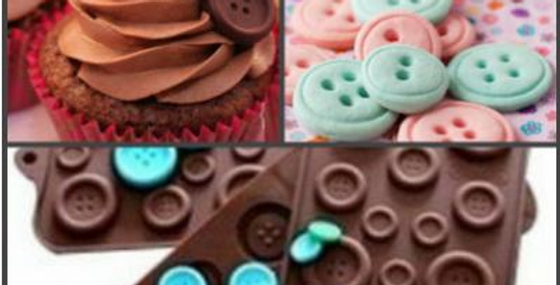 "Форма Пуговки"" для мастики  и шоколада 16 ячеек 17,4 х16,5 х 0,4 см "" цвет МИКС"