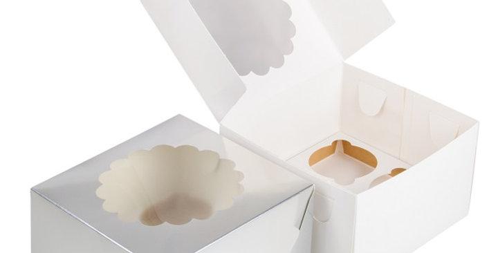 Коробка под капкейки с окошком 4 ячеек белая 160*160*100
