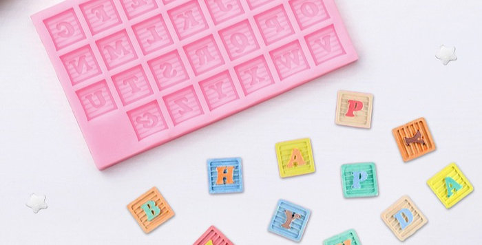 """Молд 16,9х10х1 см """"Английский алфавит кубики """", розовый"""