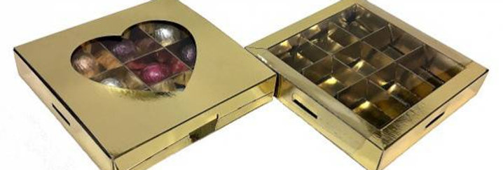 Коробка для конфет с окошком сердце золото