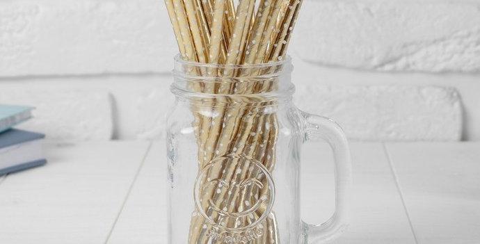 Трубочки для коктейля «Конфетти», набор 25 шт., цвет золотой