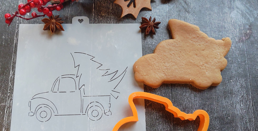 Трафарет+форма «Машина с новогодней елкой»