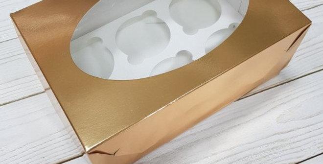 Коробка на  6 капкейк с окошком цвет  золото