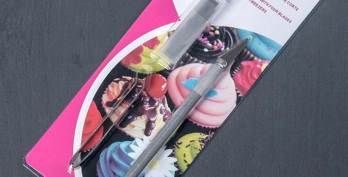Набор для мастики кондитерский резак: держатель, 2 насадки, щипцы