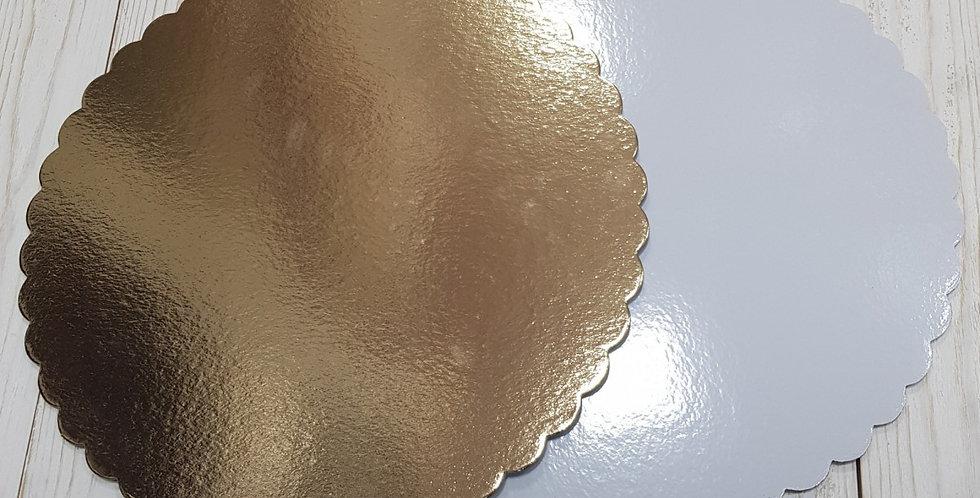 Подложка для торта фигурная (золото, белая) d 28 см усиленная