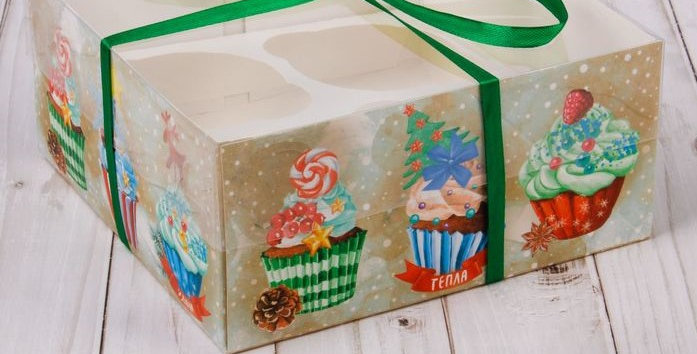 Коробка на 4 капкейка «Кексики  Новогодние », 16 × 16 × 7,5 см
