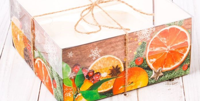 Коробка для 4 капкейка «Теплота зимы Апельсины», 16 х 16 х 7,5 см