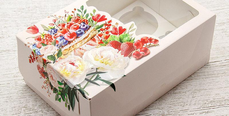 Коробка под капкейки с окошком   6  ячеек ягоды с букетом 235*160*100 мм