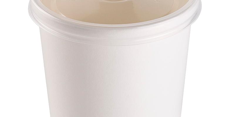 Бумажные контейнеры для мороженого и десерта  белые, с пластиковой крышкой
