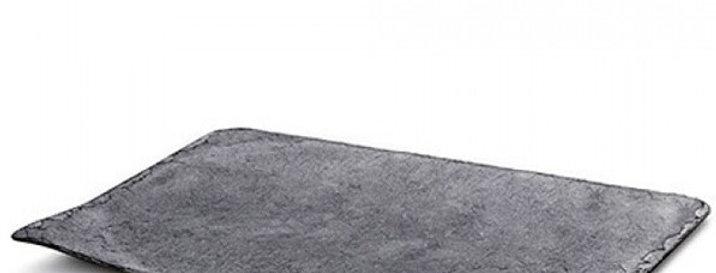 Поднос пластиковый прямоугольный серого цвета, имитирующий сланцевый камень
