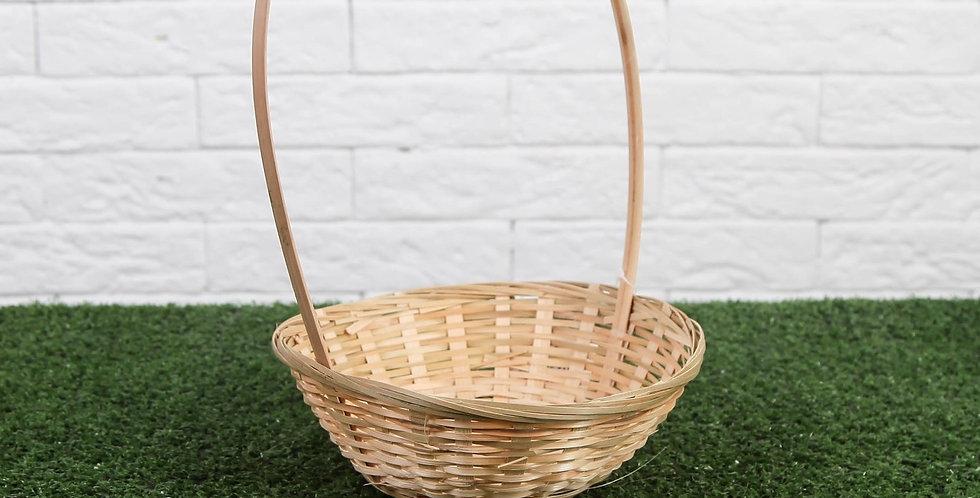 Корзина плетеная, бамбук, D19xH5см натуральный