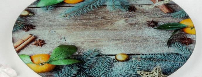 Подставка для торта вращающаяся «Голубая ель», d=30 см, в подарочной упаковке