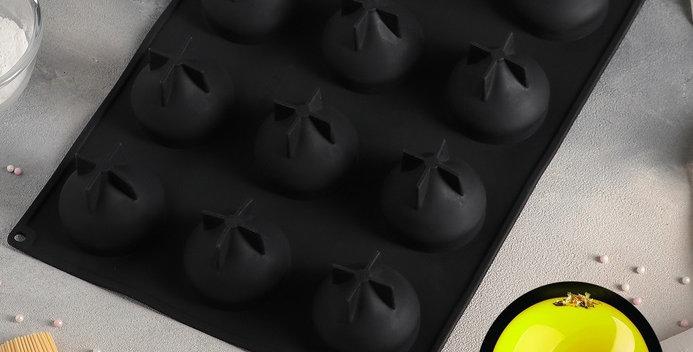 """Форма для муссовых десертов и выпечки 40×30 см """"шарики """", 12 ячеек, цвет чёрный"""
