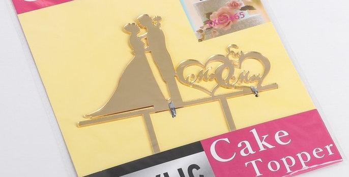 Топпер свадебный золотой на торт 12х12 см
