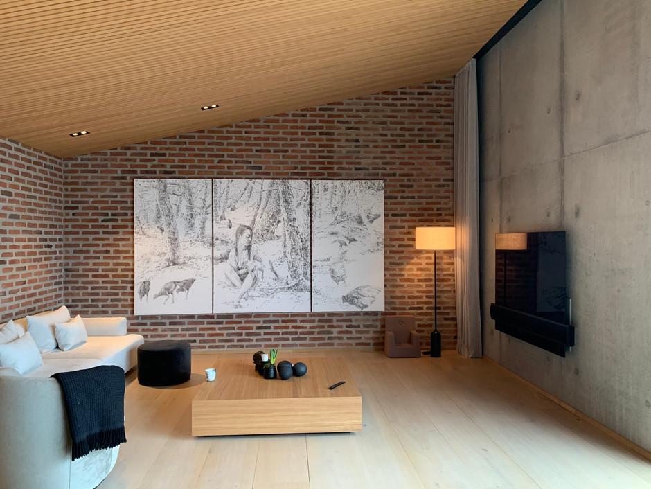 Jacoba Niepoort 180 x 330 cm - mix på papir/lærred, fra privat hjem