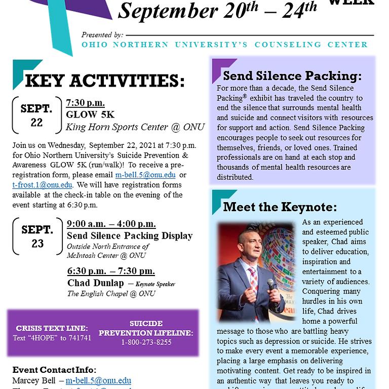 Suicide Prevention & Awareness Week at ONU - GLOW 5K