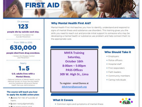 Two New Mental Health First Aid Trainings Coming Up!