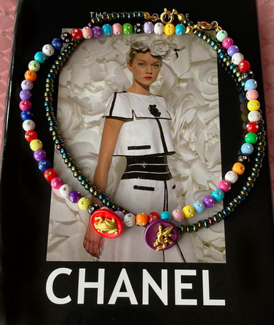 Vintage Animal Chanel Button Choker