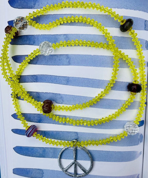 peace sign necklace made from using vintage beads only