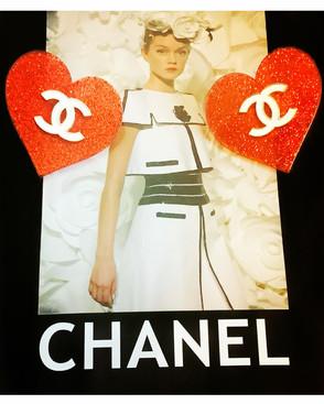 Red Chanel Glitter Heart Earrings