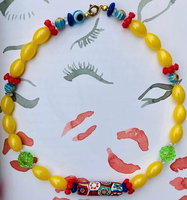 Yellow Beaded Choker Necklace