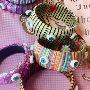 vintage handmade evil eye bangles
