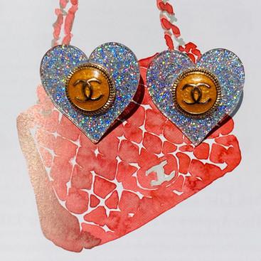 Repurposed Chanel Glitter Heart Earrings