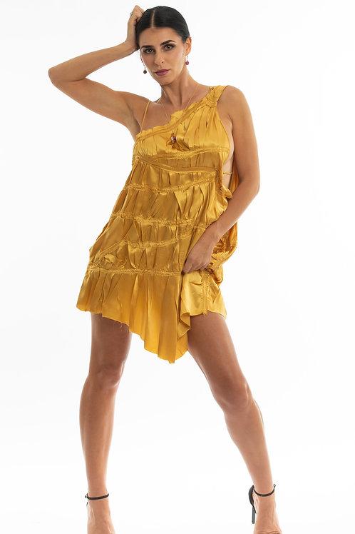 Julia Mini Gold Silk Adventurous Dress