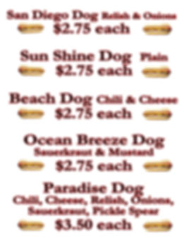 Hot Dog Menu San Diego CrunchTime