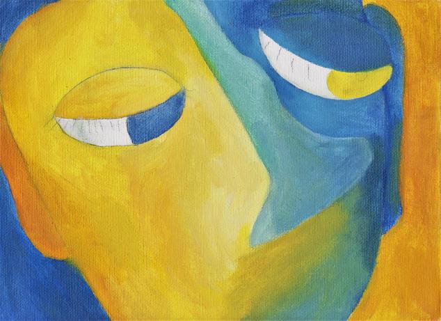 portrait in blue&yellow