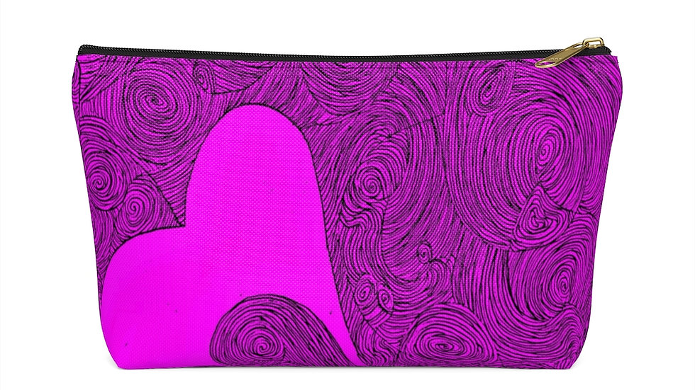 heart doodle - Accessory Pouch w T-bottom
