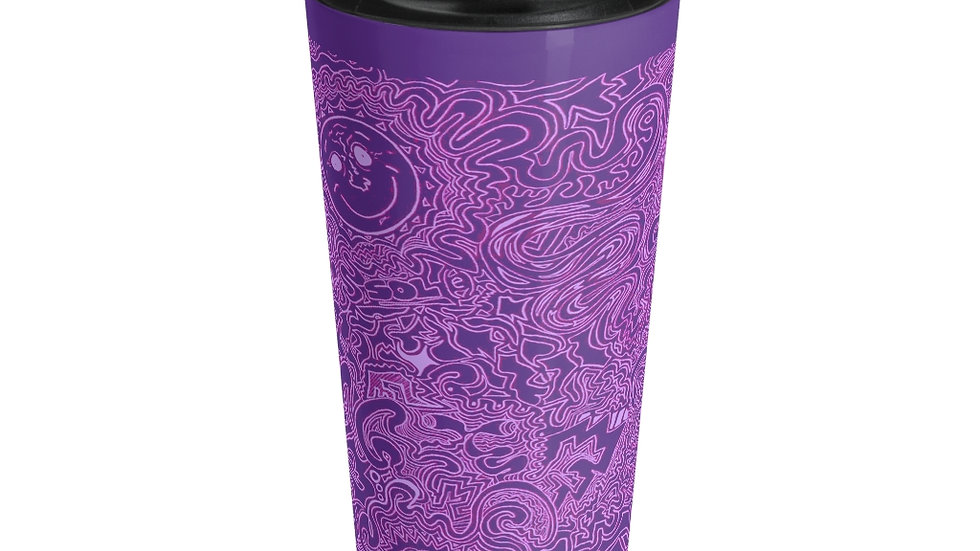 sun in swirls purple - Stainless Steel Travel Mug