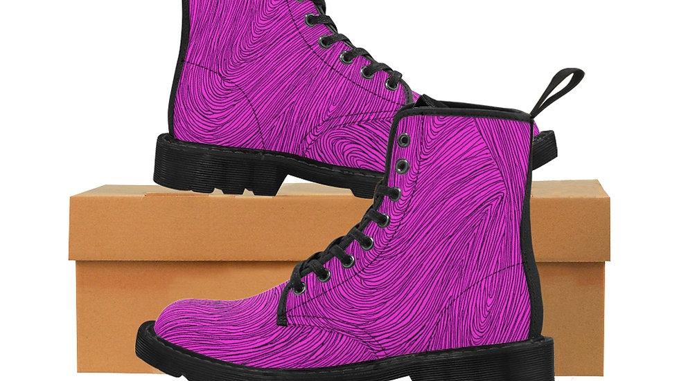 pink line doodle - Men's Canvas Boots