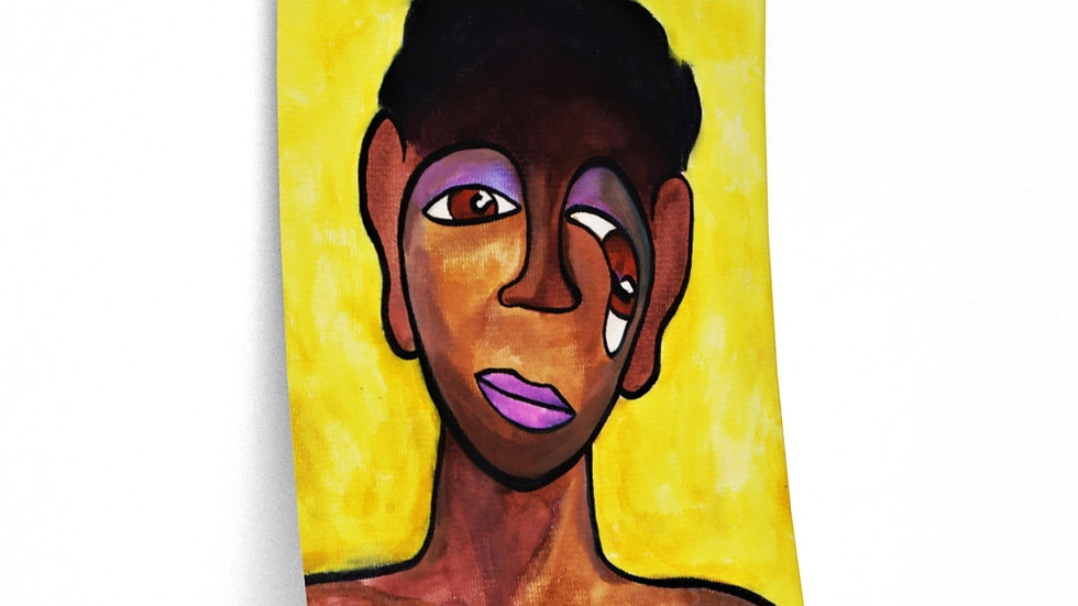 face portrait on yellow - Posters