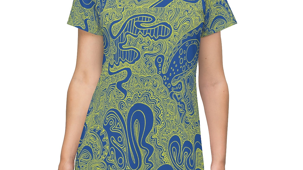 blue/yellow line doodle - All Over Print T-Shirt Dress