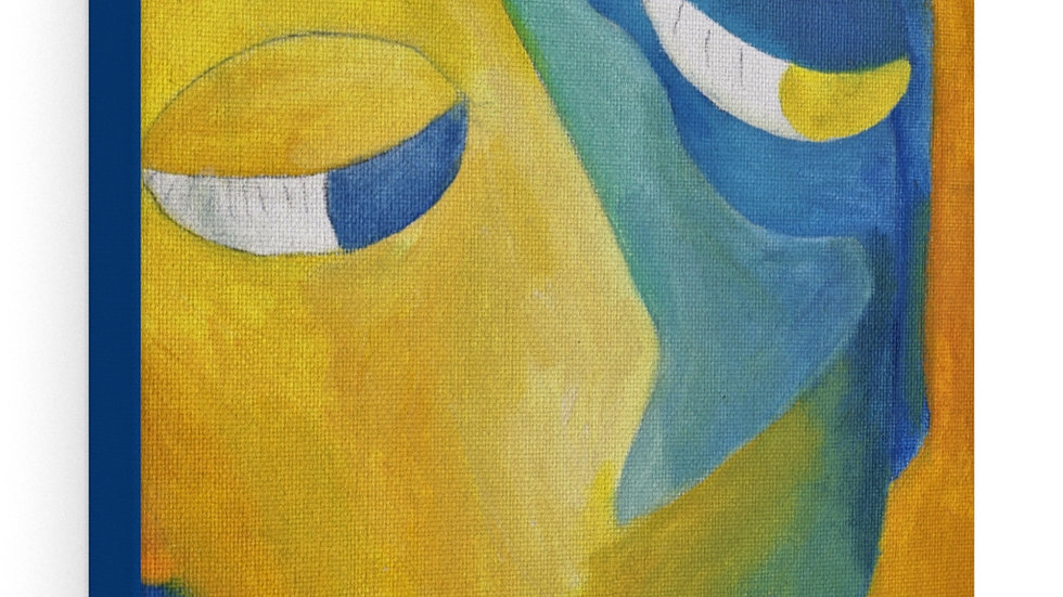 blue/yellow face - Canvas Gallery Wraps