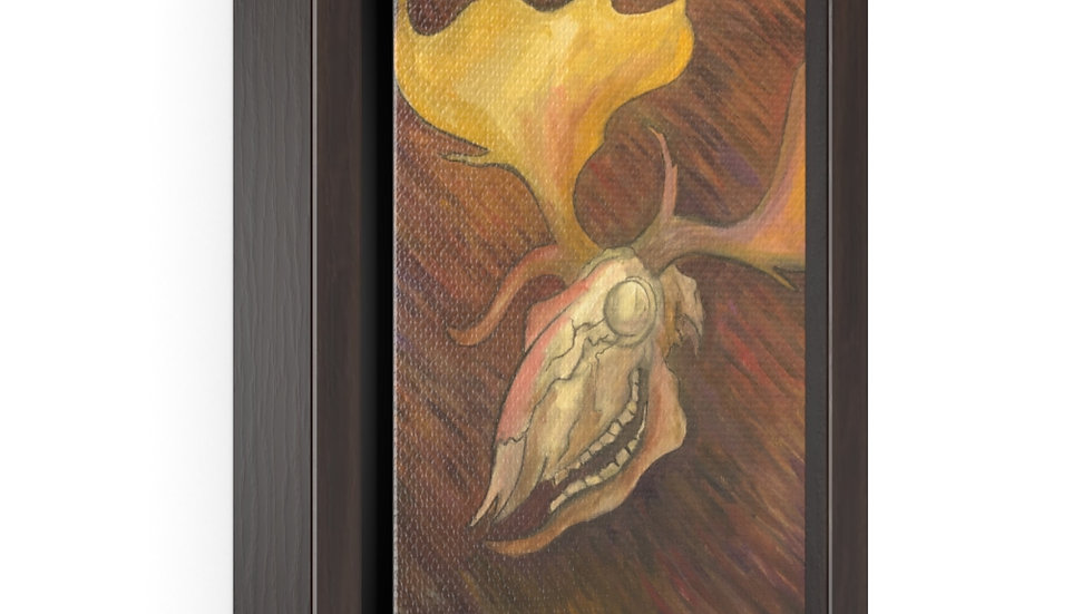white fallow deer skull (2020) - Vertical Framed Premium Gallery Wrap Canvas