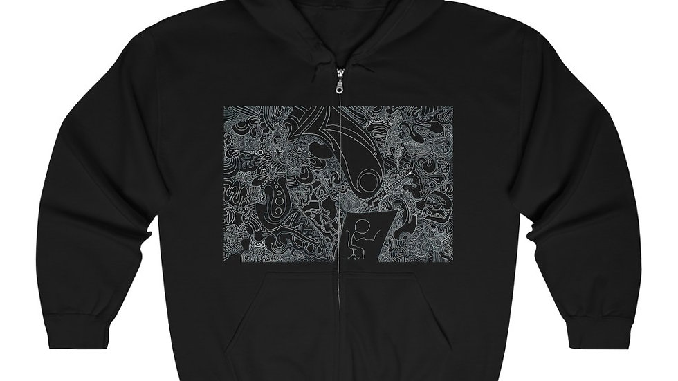 """""""under pressure"""" front - """"face of know"""" - back Unisex -- Full-Zip Hoodie"""