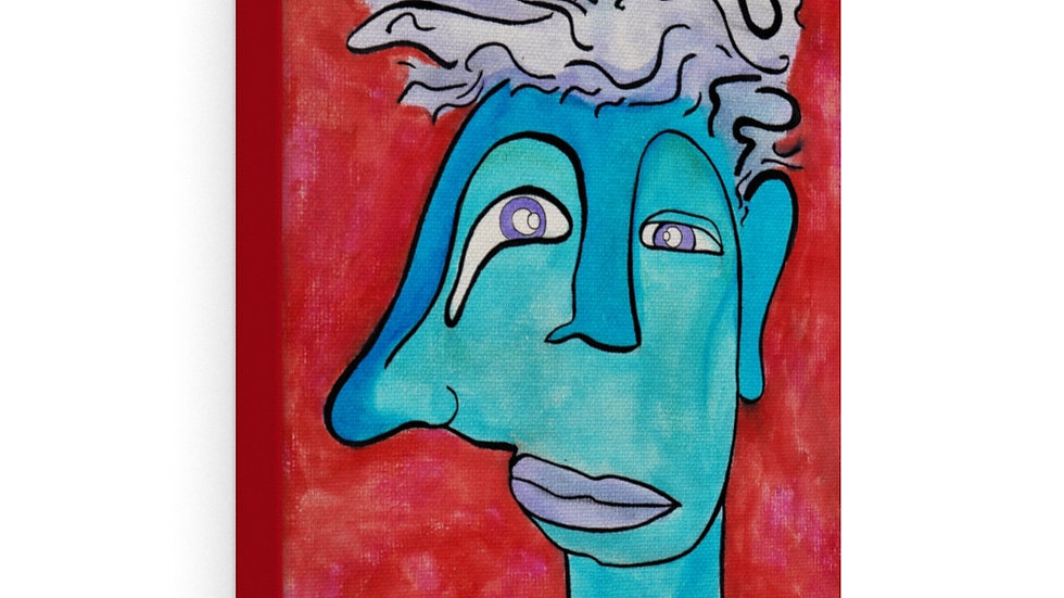 blue face on red - Canvas Gallery Wraps