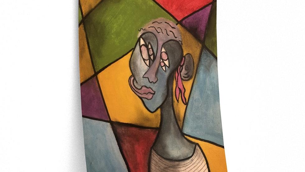portrait, woman in stripes (2021) - Premium Matte vertical posters