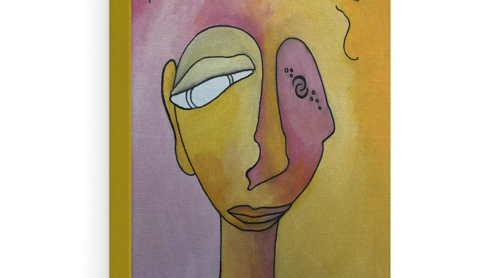 face in yellow+pink - Canvas Gallery Wraps