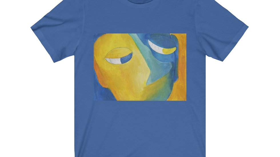 blue/gold face - Unisex Jersey Short Sleeve Tee
