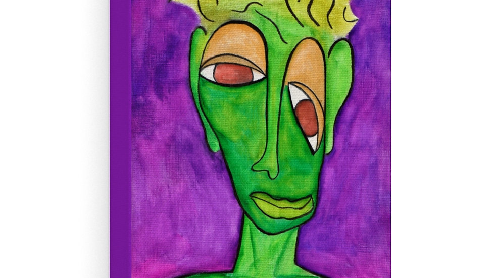 green face on purple - Canvas Gallery Wraps