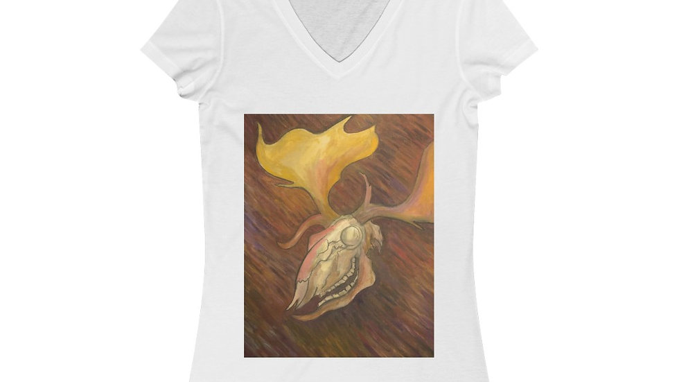 white fallow deer skull painting - Women's Jersey Short Sleeve V-Neck Tee