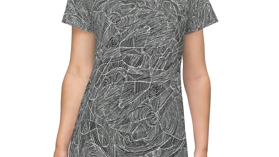 line doodle dress - All Over Print T-Shirt Dress